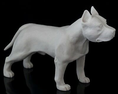 Staffordshire Pit Bull Terrier White Marble Sculpture Stone Art Dog Figurine