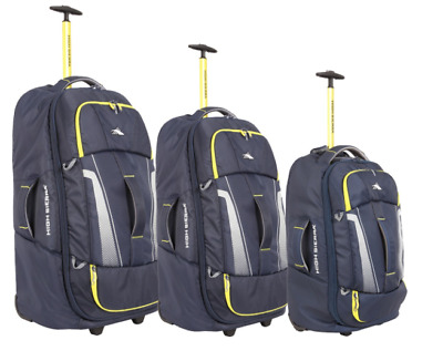 New High Sierra Composite V3 3 Piece Wheeled Duffle W/ Backpack Strap Black Bags