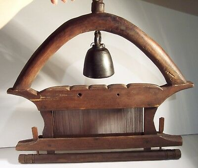 Antique Wonderful Hand Made Bronze/brass Asian Bell On Wooden Hanging Stand Rare