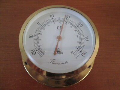 Edles kleines Schiffsthermometer massiv Messing Viking Made in Germany 11 cm