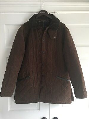 Barbour Moleskin Liddesdale Quilted Jacket Coat Brown Men's Sz L EUC