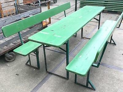 VINTAGE GARDEN INDUSTRIAL BEER FESTIVAL PUB CAFE TABLES AND BENCHES GERMAN 20th Century