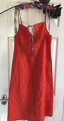 Vintage St Michael Marks And Spencer Red And Floral Tie Strap Dress 60s 70s 14