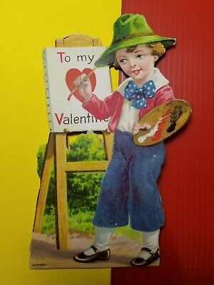 VINTAGE 1920-30's VALENTINE CARD - YOUNG ARTIST PAINTING OUTDOORS