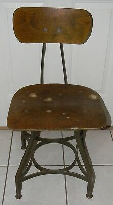 Vtg Industrial Desk Chair UHL Toledo Metal Desk Chair / Drafting Stool Factory