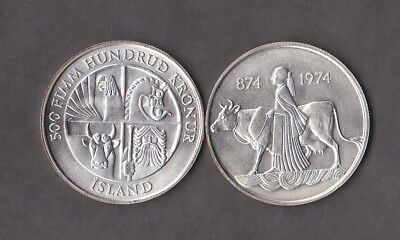 ICELAND Nice commemorative coin 500 kronur 1974 UNC 0.925 silver