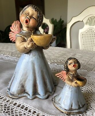 Vintage Charming Pair Of Angels Made In Italy Candle Holder Figurine