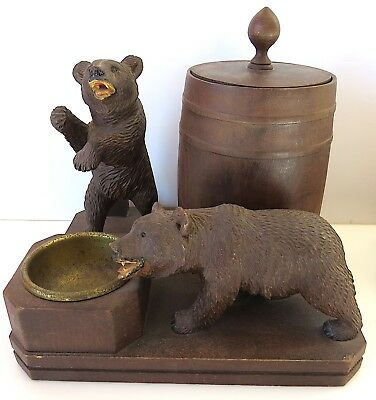 Vintage Black Forest Carved BEARS Humidor Ash Tray Pipe Holder Music Box