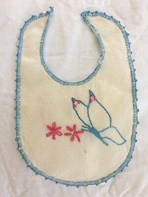 Antique, Vintage  Primitive Everyday Style Hand Made & Embroidered Baby Bib