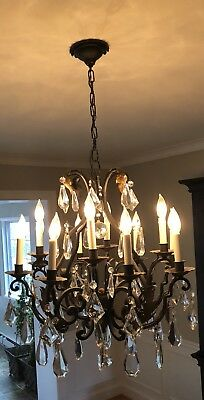 Antique French Chandelier Wrought Iron and Crystal Circa 1900