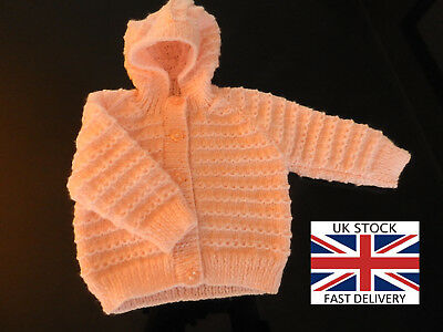 NEW BABY HOODED JACKET 3-6 Months Girls HANDMADE PINK FREE DELIVERY 🇬🇧
