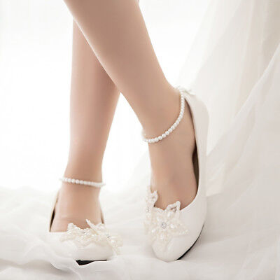 Fashion Women Romantic Dress  Flat Pumps Wedding Party High Heels Bridal Shoes