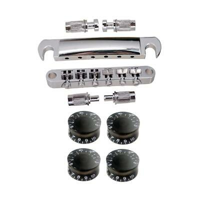 1 Set Roller Saddle Bridge Tailpiece with 4pcs Knobs for LP Electric Guitar