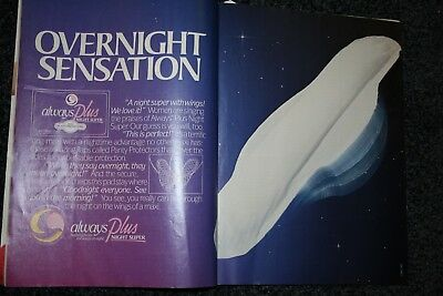 ALWAYS PLUS OVERNIGHT MAXI PADS 1987 vintage magazine ad advertising print