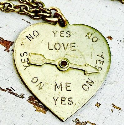 Hippy Heart Necklace Spins Movable charm brass Spinner Cute Romantic Retro Vtg