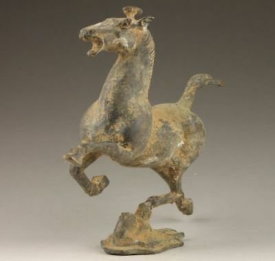 Collectible Decorated Old Copper Bronze Vivid Horse Stepped Swallow Statue