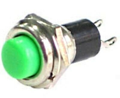 Green push button pushbutton switch - approx 10.8mm mounting hole - UK Seller