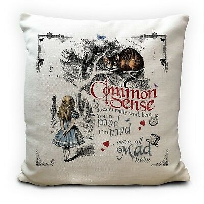 ALICE IN WONDERLAND Cushion Cover Cheshire Cat Common Sense Vintage Gift 16 inch