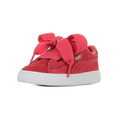 2fe64b80d0659 Chaussures Baskets Puma bébé Suede Heart Valentine Inf taille Rouge Cuir