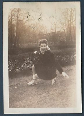 Lady Ice Skates Poses On Grass Old/vintage Photo-Snapshot Y2403