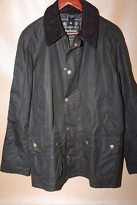#130 Barbour Ashby Waxed Cotton Jacket Size XL OLIVE GREEN