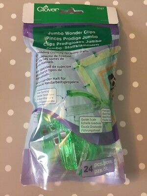 *NEW* Clover 24-Piece Jumbo Wonder Clips  Great Holding Capacity For Many Crafts
