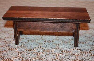 Primitive Handcrafted Miniature Wood Bench with Dark Stain