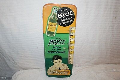 "Rare Vintage 1930's Moxie Soda Pop Bottle 26"" Metal Thermometer Sign~Works"