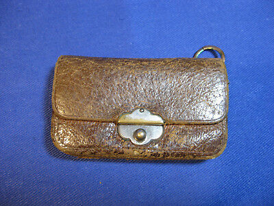 Antique Victorian Miniature Leather sovereigns / Coin Purse