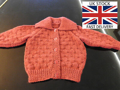 NEW BABY CARDIGAN 0-3 Months Girls DEEP RED Collared D.K FREE DELIVERY 🇬🇧