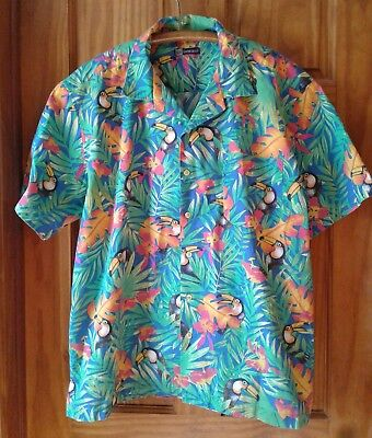 Blue Generation Mens Large Colorful Tropical Tucan Palm Leaf Hawaiian Shirt