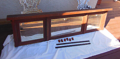 """Antique Arts and Crafts Mission Solid Oak Mantel Piece Mirror Sideboard 76"""""""