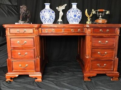 Large Impressive Double Sided Pedestal Georgian Style Mahogany Partners Desk