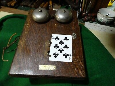 Antique Western Electric Oak Telephone Box Front And Bells Rings Parts