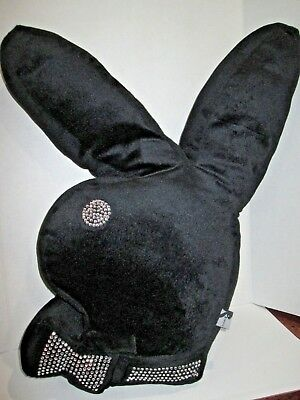 PLAYBOY BUNNY SHAPED PILLOW PLUSH BLACK with RHINESTONE TRIM EXCELLENT GIFT IDEA