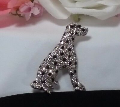 Vintage Estate Silver Ice Black Rhinestone Dalmatian Puppy Brooch Pin Stunning!