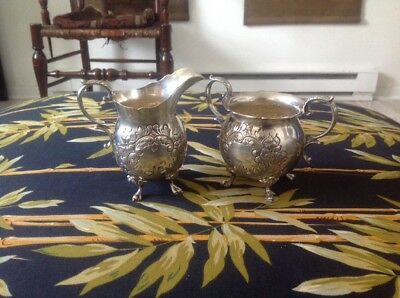 Beautiful Sterling Silver Durham Claw Footed Creamer and Sugar