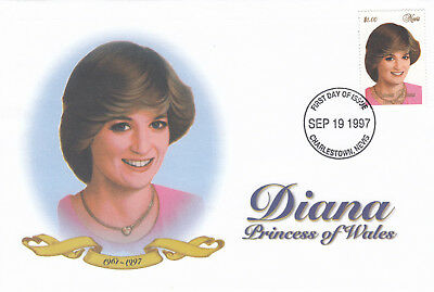 (10758) Nevis FDC Princess Diana Death Charlestown 19 September 1997
