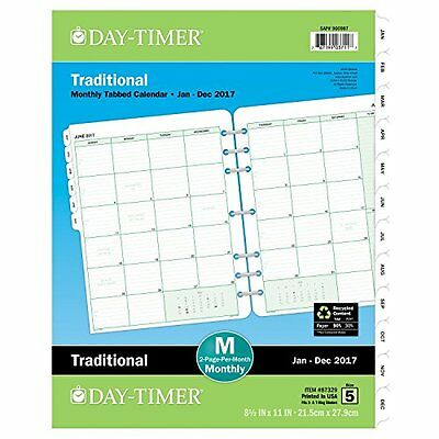 Day-Timer Monthly Planner Refill 2017 Two Page Per Month Loose-Leaf 8.5 X 11