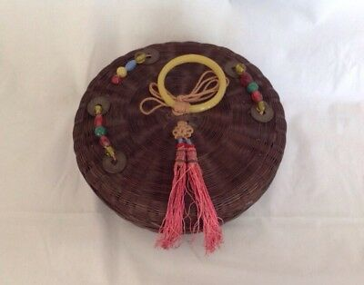 Vintage Chinese Bamboo Sewing Basket w/ Contents Peking Glass Ring Beads Tassels