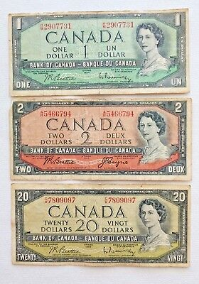 Lot of 3 Canada Currency 1954 Notes Bills $1-$2-$20 Circulated