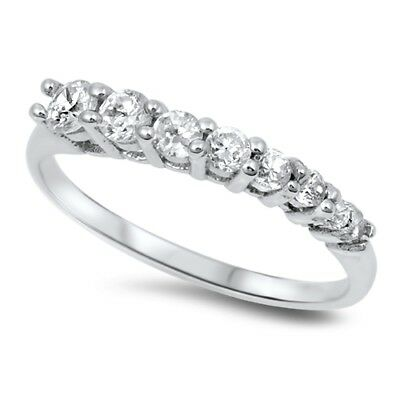 Wedding White CZ Flower Micro Pave Ring New .925 Sterling Silver Band Sizes 5-9