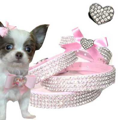 Chiens Strass Collier Cuir D'Art Rose ou Rose Herz Made IN Germany XXS-M S1
