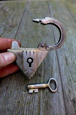 Triangle Padlock With One Key Handmade by Blacksmith Unique Shape Triangle 08-12