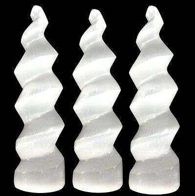 3 XL Selenite Crystal Towers Polished Spiral Wand Energy Charger Bulk LOT