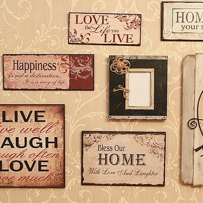 Wooden Photo Frame Sign Plaques Rustic Vintage Home Wall Decorative Antique Gift