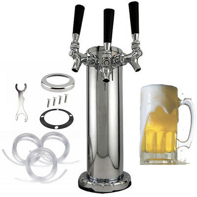 Triple Tap Faucet Stainless Steel Draft Beer Tower, 3-Inches Column - 3 Faucets