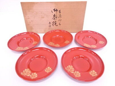 3533462: Japanese Sencha Red Lacquer Saucer Set Of 5 Young Pine