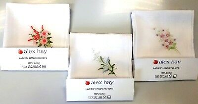 Ladies White Handkerchiefs with Floral Embroideries Pack of 6 -- 3 Options