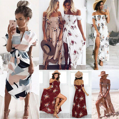Womens Fashion Boho Party Dress Ladies Formal Wedding Cocktail Long Maxi Dress